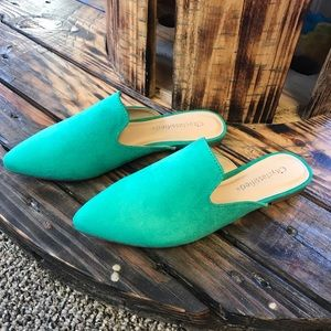 Shoes - *New Arrival * Green Slide Mules